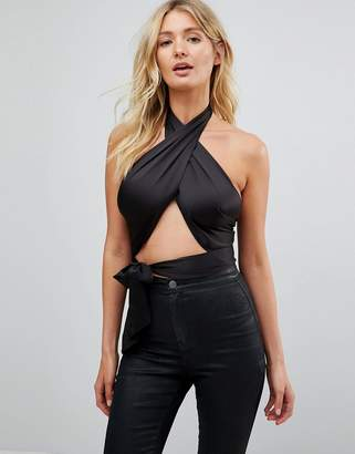 Asos DESIGN Fuller Bust Sexy Wrap Halter with Tie Detail