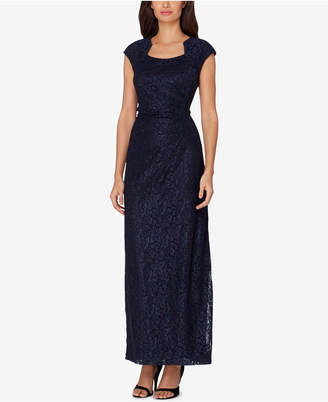 Tahari ASL Stretch Lace Ruched Column Gown