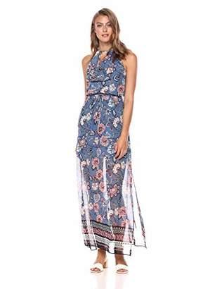Vince Camuto Women's Patterned Chiffon Ruffle Maxi Dress