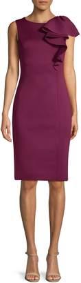 Eliza J Ruffle-Shoulder Sheath Dress