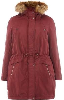 Junarose Womens **Juna Rose Curve Red Faux Fur Hooded Parka Coat