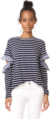 Clu Clu Too Open Sleeve Striped Top with Ruffles $143 thestylecure.com
