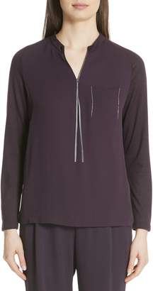 Fabiana Filippi Satin Front Merino Wool Sweater