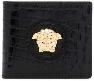 Versace black Medusa crocodile embossed leather wallet