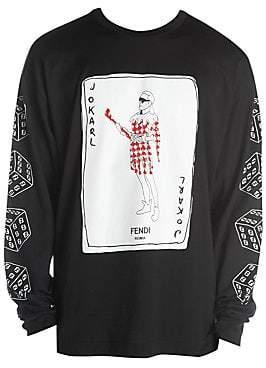 Fendi Men's Long Sleeve Jokarl Cotton Tee