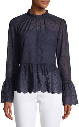 Lumie Mock-Neck Bell-Sleeve Lace Blouse