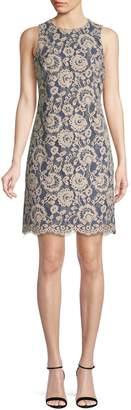 Vince Camuto Sleeveless Lace Cotton Blend Shift Dress