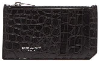 Saint Laurent - Crocodile Effect Leather Card Holder - Mens - Black