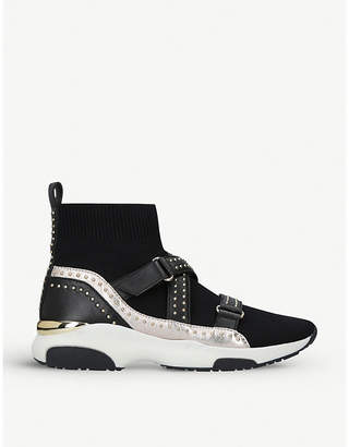 Carvela Listen strap and studded sock-fit knit trainers