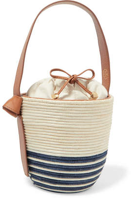 BEIGE Cesta Collective - Lunchpail Leather-trimmed Woven Sisal Bucket Bag