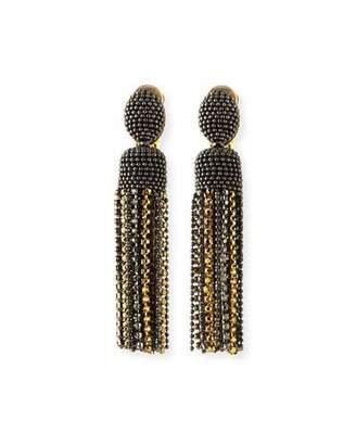 Oscar de la Renta Short Crystal Tassel Clip-On Earrings