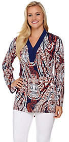Women with Control Attitudes by Renee Long Sleeve Printed V-NeckKnit Tunic