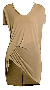 Rick Owens Women's V-Neck Viscose Silk Jersey Sid T-Shirt