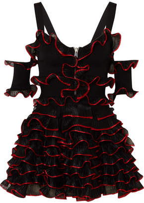 Alexander McQueen Cold-shoulder Ruffled Stretch-knit Mini Dress - Black