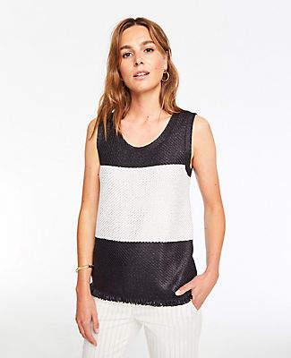 Ann Taylor Petite Colorblock Fringe Sleeveless Sweater