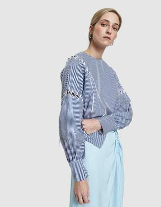 Tibi Stripe Shirt Long Sleeve Top