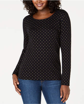 Karen Scott Star Light Metallic-Print Top