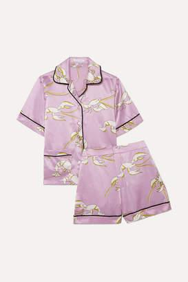 Olivia von Halle - Millicent Printed Silk-satin Pajama Set - Lilac