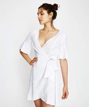 Alice In The Eve Cara Frill Linen Dress White