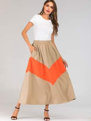 Shein Spliced Elastic Waist Flared Maxi Skirt
