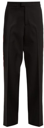 Wales Bonner Side Stripe Stretch Wool Trousers - Womens - Black Multi