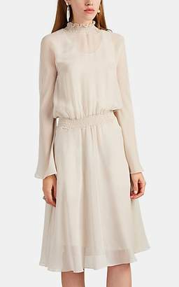 Giorgio Armani Women's Smocked-Collar Silk Chiffon Blouson Dress - Cream
