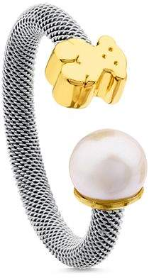 Tous 18K Yellow Gold Bear Cultured Freshwater Pearl Ring