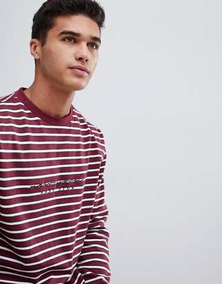 New Look long sleeve t-shirt with New York embroidery in burgundy stripe