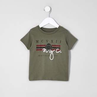 River Island Mini boys khaki 'NYC' T-shirt