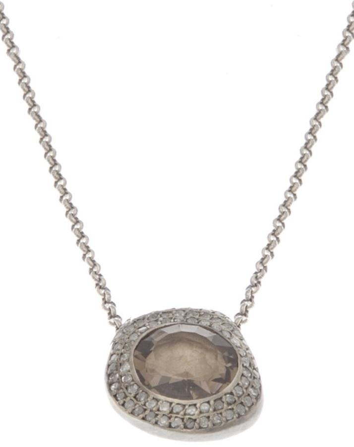 Rosa Maria quartz diamond necklace