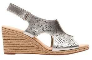 Clarks Lalfey Rosen Metallic Leather Wedge Sandals