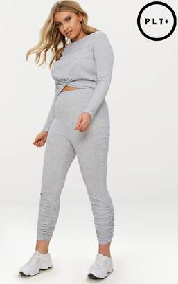 PrettyLittleThing Plus Grey Marl Ribbed Ruched Leggings