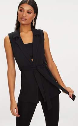 PrettyLittleThing Black Sleeveless Belted Blazer