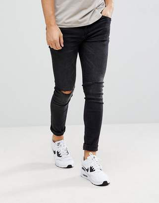 Pull&Bear Super Skinny Jeans With Knee Rips In Black