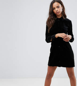 Missguided Petite Velvet Shirt Dress