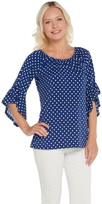 Women With Control Attitudes by Renee Como Jersey Dot Flounce Flutter Sleeve Top