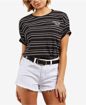 Volcom Juniors' Super Ripped Cotton Striped T-Shirt