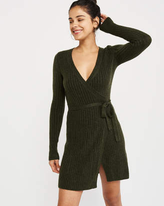 Abercrombie & Fitch Ribbed Wrap Sweater Dress