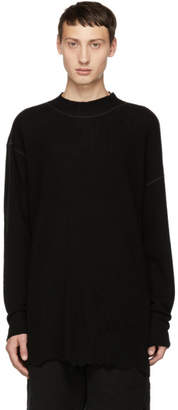 The Viridi-anne Black Cut Hem Crewneck