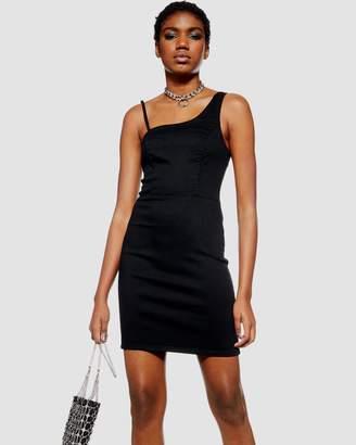 Topshop Asymmetric Denim Shift Dress