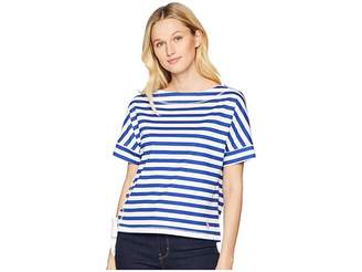 U.S. Polo Assn. Boat Neck Short Sleeve Striped Lace-Up Tee Shirt Women's T Shirt
