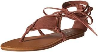 Qupid Women's Thong Lace up Flat Sandal