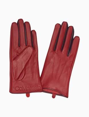 Calvin Klein leather contrast color gloves