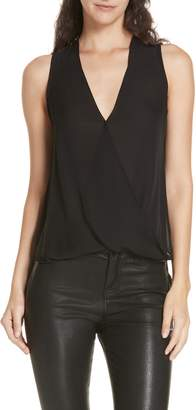 L'Agence Mila Draped Silk Surplice Blouse