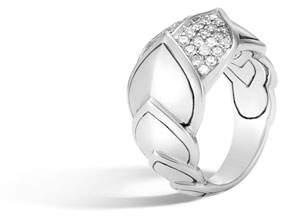 John Hardy Legends Naga 15mm Diamond Scale Ring, Size 6