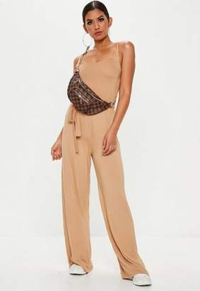 Missguided Nude Slouch Cami Wide Leg Romper