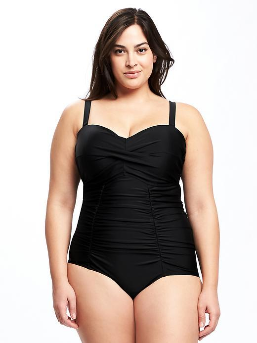 Old NavySmooth & Slim Twist-Front Plus-Size Swimsuit