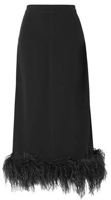 Co Feather-trimmed Crepe Midi Skirt - Black