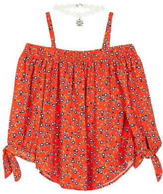 Byer California Girls 7-16 Cold-Shoulder Printed Top $38 thestylecure.com