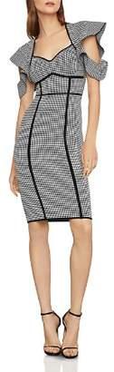 BCBGMAXAZRIA Cold-Shoulder Houndstooth Dress